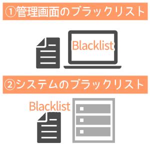 管理画面のブラックリストとシステムのブラックリスト