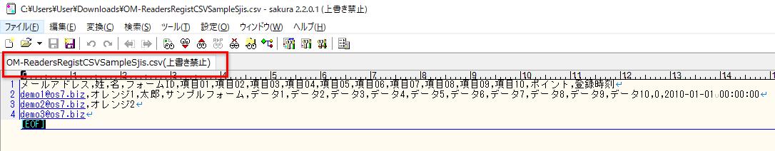 [テキストエディタ]データをカンマ区切りで項目順に入力して保存してください。